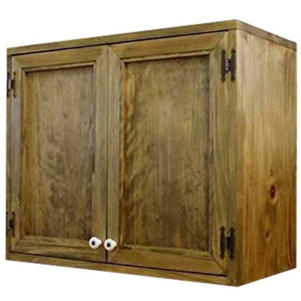 キャビネット壁掛けアンティークブラウンw60d30h50cm木製扉キッチン吊り戸棚木製ひのき受注製作