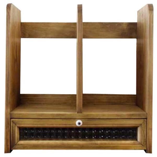 ブックスタンド 引き出し付き アンティークブラウン w33d25h34cm チェッカーガラス 木製 ヒノキ 受注製作|angelsdust