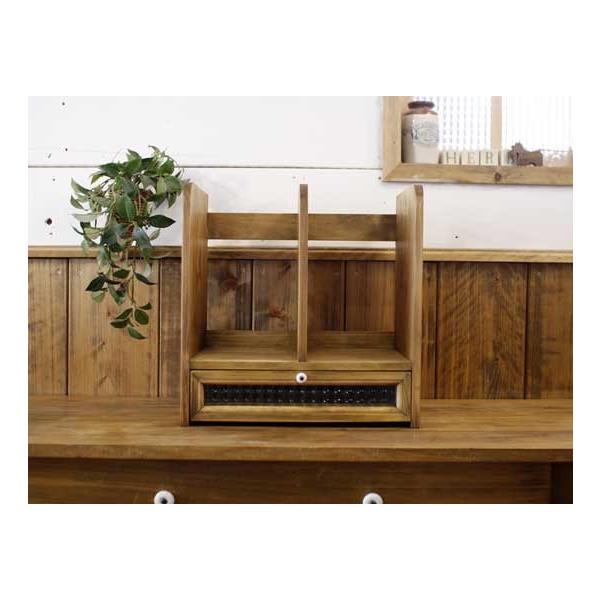 ブックスタンド 引き出し付き アンティークブラウン w33d25h34cm チェッカーガラス 木製 ヒノキ 受注製作|angelsdust|02