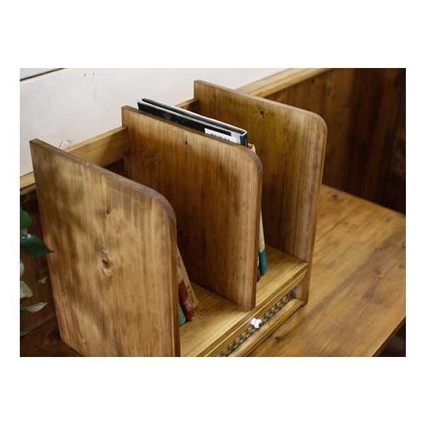 ブックスタンド 引き出し付き アンティークブラウン w33d25h34cm チェッカーガラス 木製 ヒノキ 受注製作|angelsdust|03