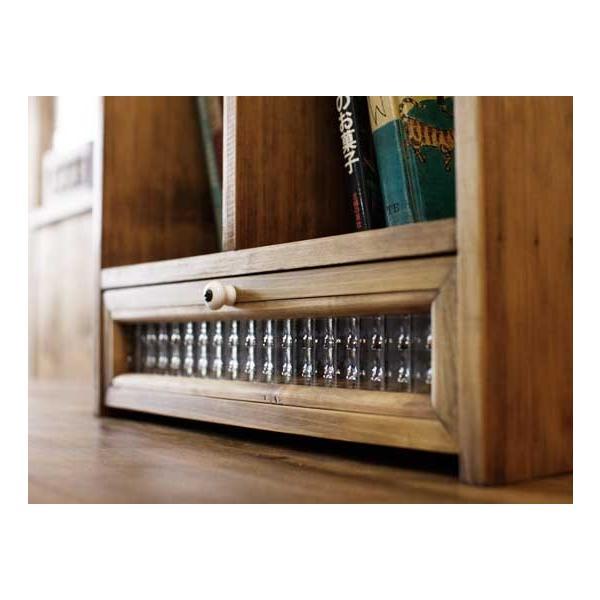 ブックスタンド 引き出し付き アンティークブラウン w33d25h34cm チェッカーガラス 木製 ヒノキ 受注製作|angelsdust|04