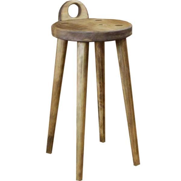 ラウンドチェア 持ち手付き アンティークブラウン w25d25h44cm 丸椅子 木製 ひのき 受注製作|angelsdust