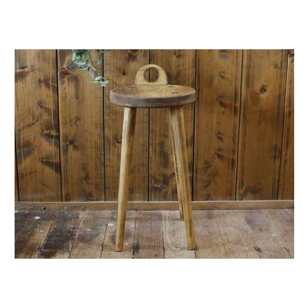 ラウンドチェア 持ち手付き アンティークブラウン w25d25h44cm 丸椅子 木製 ひのき 受注製作|angelsdust|02