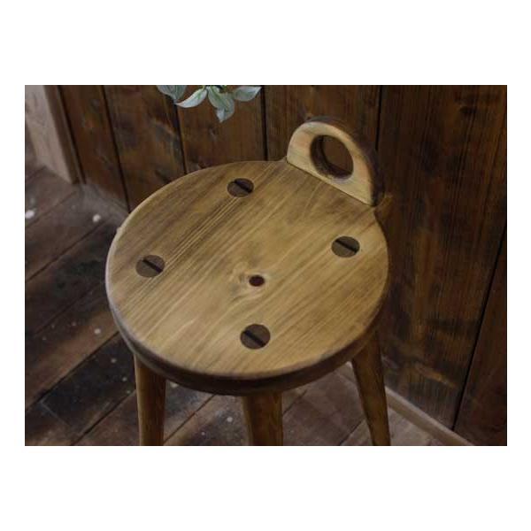 ラウンドチェア 持ち手付き アンティークブラウン w25d25h44cm 丸椅子 木製 ひのき 受注製作|angelsdust|03