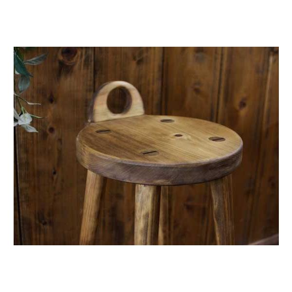 ラウンドチェア 持ち手付き アンティークブラウン w25d25h44cm 丸椅子 木製 ひのき 受注製作|angelsdust|04