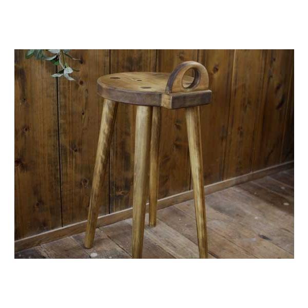 ラウンドチェア 持ち手付き アンティークブラウン w25d25h44cm 丸椅子 木製 ひのき 受注製作|angelsdust|05