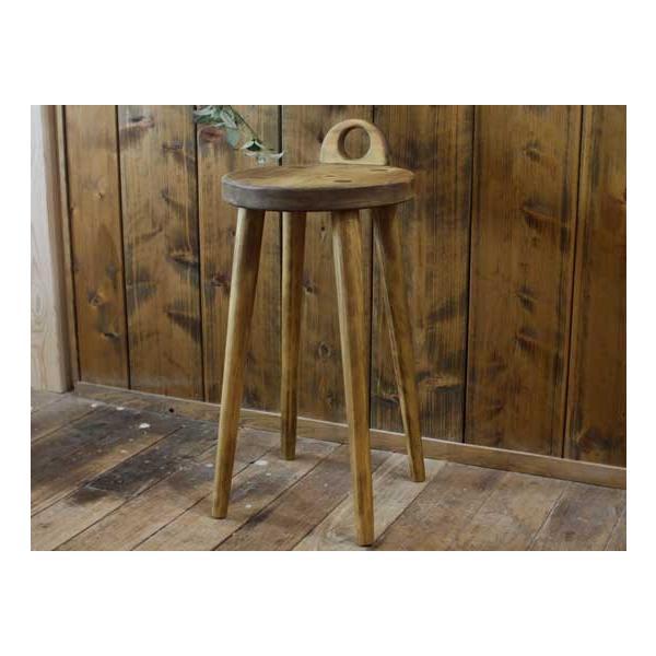 ラウンドチェア 持ち手付き アンティークブラウン w25d25h44cm 丸椅子 木製 ひのき 受注製作|angelsdust|07