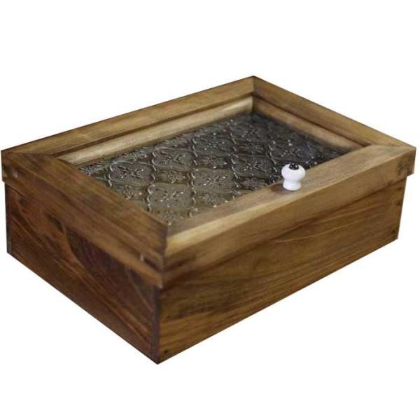 アクセサリーケース 陶器つまみ アンティークブラウン w22d15h7cm フローラガラス 木製 ひのき 受注製作|angelsdust