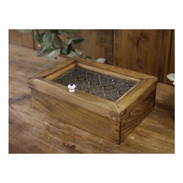 アクセサリーケース 陶器つまみ アンティークブラウン w22d15h7cm フローラガラス 木製 ひのき 受注製作|angelsdust|02
