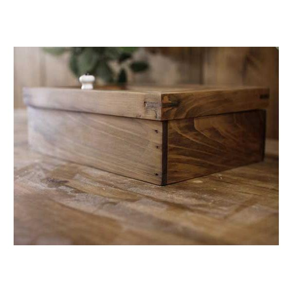 アクセサリーケース 陶器つまみ アンティークブラウン w22d15h7cm フローラガラス 木製 ひのき 受注製作|angelsdust|03
