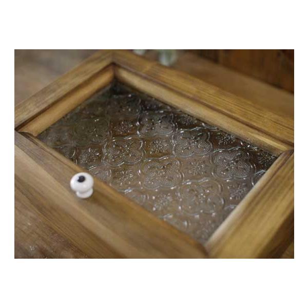 アクセサリーケース 陶器つまみ アンティークブラウン w22d15h7cm フローラガラス 木製 ひのき 受注製作|angelsdust|04