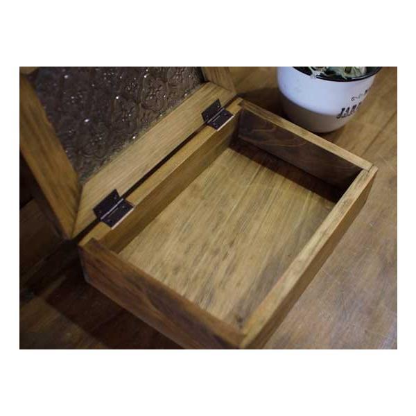アクセサリーケース 陶器つまみ アンティークブラウン w22d15h7cm フローラガラス 木製 ひのき 受注製作|angelsdust|06