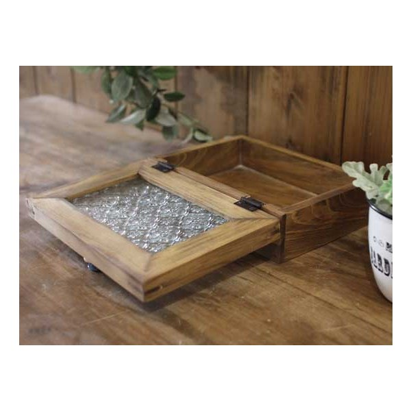 アクセサリーケース 陶器つまみ アンティークブラウン w22d15h7cm フローラガラス 木製 ひのき 受注製作|angelsdust|07