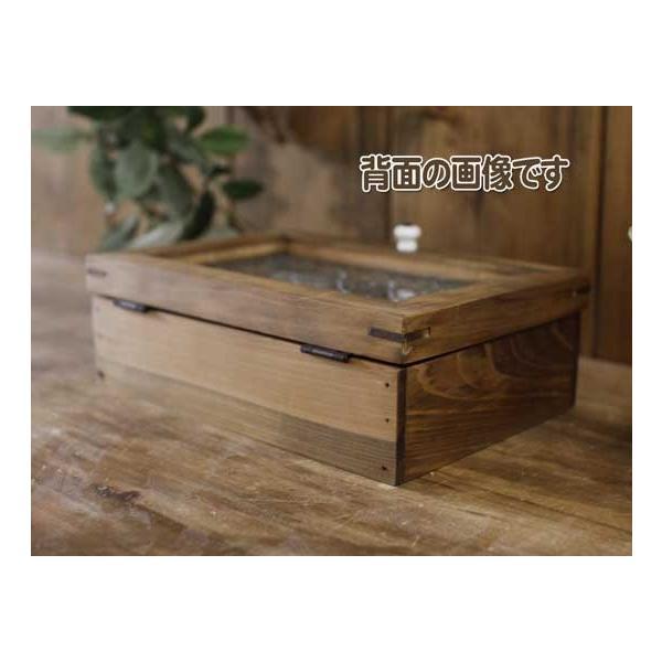 アクセサリーケース 陶器つまみ アンティークブラウン w22d15h7cm フローラガラス 木製 ひのき 受注製作|angelsdust|08