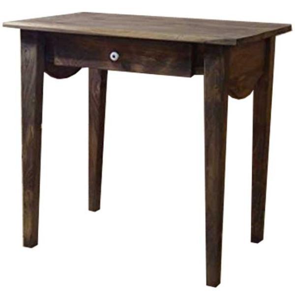 デスク ミニデスク アンティークブラウン w74d49h71cm 自然木そのまま 作業台 木製 ひのき 受注製作
