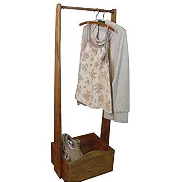 ハンガーラック 洋服掛け アンティークブラウン w47d35h135cm ボックスつき 木製 ひのき 受注製作