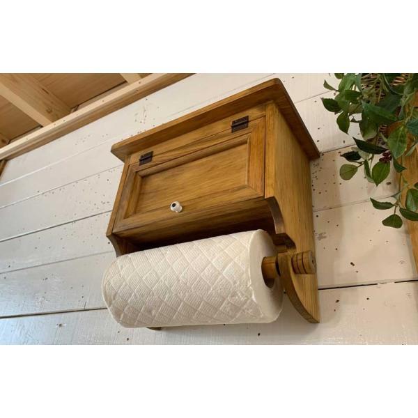 キッチンペーパーホルダー 木製 ひのき 木製扉 壁かけラック レギュラーサイズ(230mm)ハンドメイド 手作り オーダーメイド アンティークブラウン 受注製作|angelsdust|11