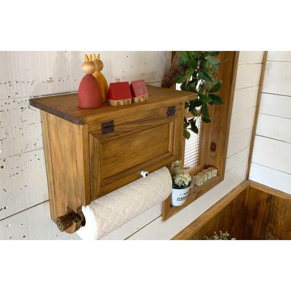 キッチンペーパーホルダー 木製 ひのき 木製扉 壁かけラック レギュラーサイズ(230mm)ハンドメイド 手作り オーダーメイド アンティークブラウン 受注製作|angelsdust|12