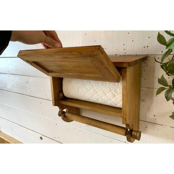 キッチンペーパーホルダー 木製 ひのき 木製扉 壁かけラック レギュラーサイズ(230mm)ハンドメイド 手作り オーダーメイド アンティークブラウン 受注製作|angelsdust|14