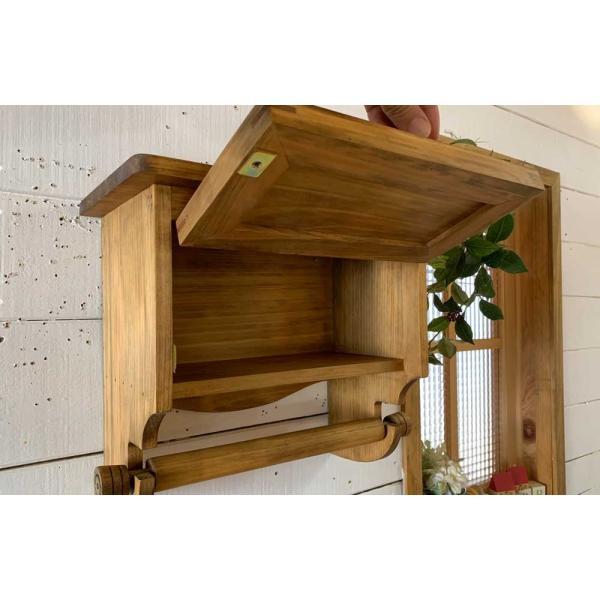 キッチンペーパーホルダー 木製 ひのき 木製扉 壁かけラック レギュラーサイズ(230mm)ハンドメイド 手作り オーダーメイド アンティークブラウン 受注製作|angelsdust|06