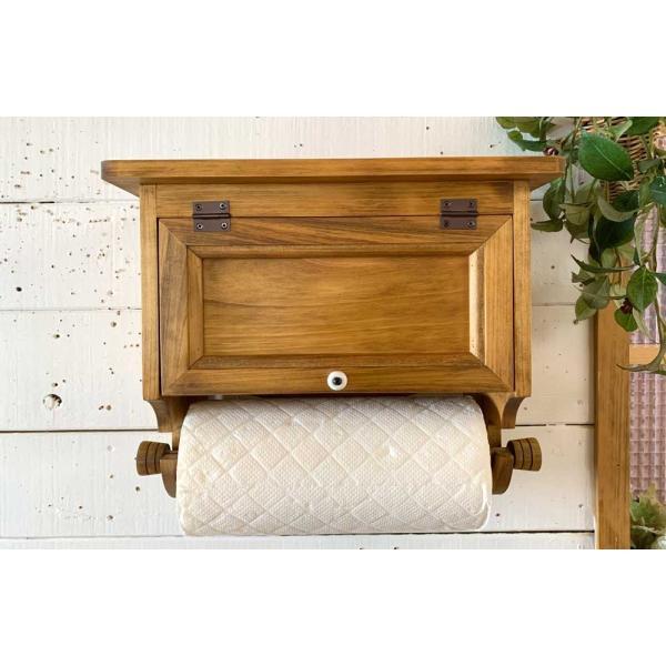 キッチンペーパーホルダー 木製 ひのき 木製扉 壁かけラック レギュラーサイズ(230mm)ハンドメイド 手作り オーダーメイド アンティークブラウン 受注製作|angelsdust|08