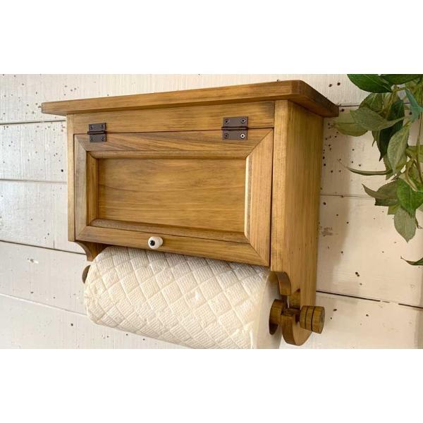 キッチンペーパーホルダー 木製 ひのき 木製扉 壁かけラック レギュラーサイズ(230mm)ハンドメイド 手作り オーダーメイド アンティークブラウン 受注製作|angelsdust|09