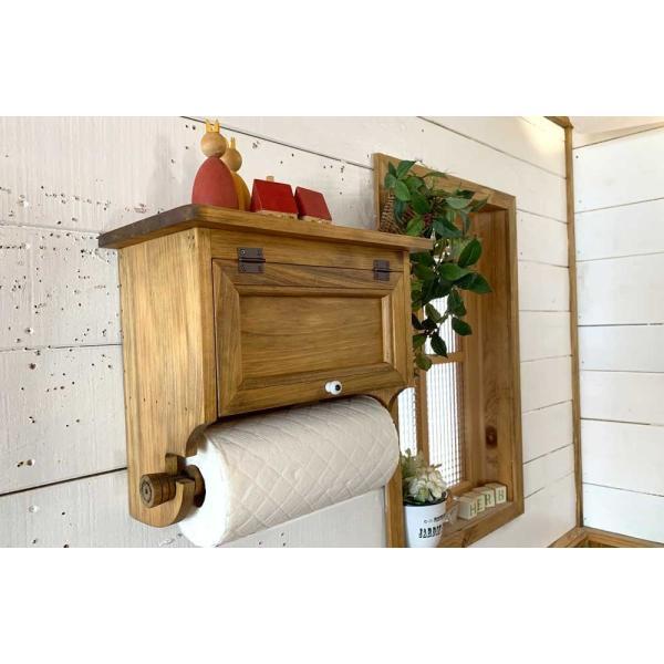 キッチンペーパーホルダー 木製 ひのき 木製扉 壁かけラック レギュラーサイズ(230mm)ハンドメイド 手作り オーダーメイド アンティークブラウン 受注製作|angelsdust|10