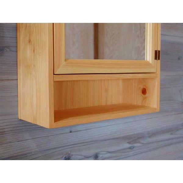 ミラー扉の木製キャビネットシェルフ 背板つき(35×15×49cm)(ナチュラル) 受注製作 angelsdust 02