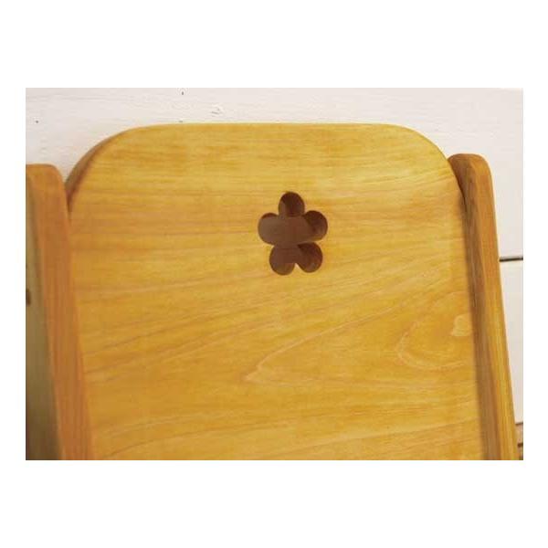 フロアチェア ナチュラル w35d41h49cm お花のくりぬき 木製 ひのき 受注製作|angelsdust|06