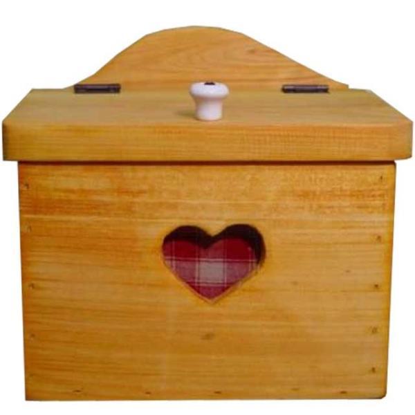 サニタリーケース カントリーチェック 赤 ナチュラル w20d15.5h17.5cm ハート 木製 ひのき 受注製作|angelsdust