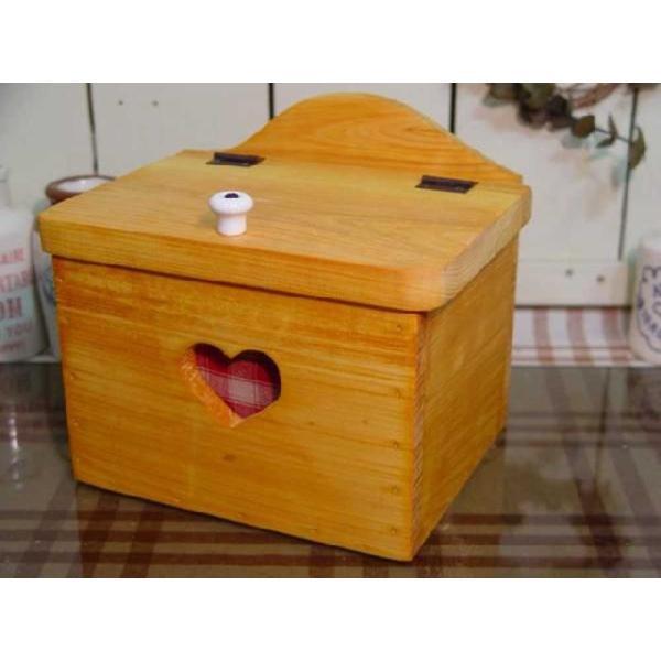 サニタリーケース カントリーチェック 赤 ナチュラル w20d15.5h17.5cm ハート 木製 ひのき 受注製作|angelsdust|03