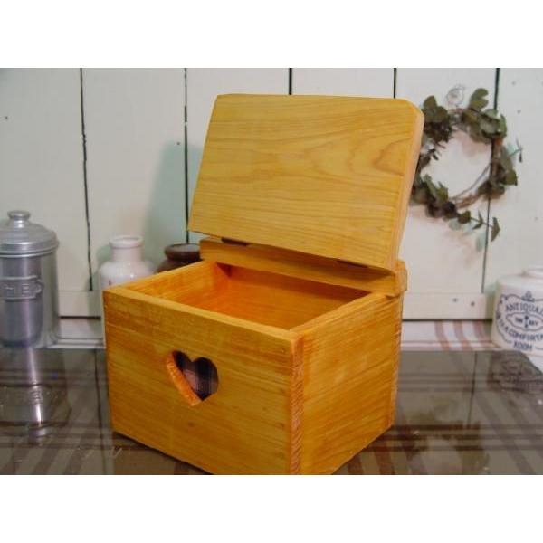 サニタリーケース カントリーチェック 青 ナチュラル w20d15.5h17.5cm ハート ヒノキ 木製 受注製作|angelsdust|02