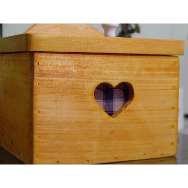 サニタリーケース カントリーチェック 青 ナチュラル w20d15.5h17.5cm ハート ヒノキ 木製 受注製作|angelsdust|04