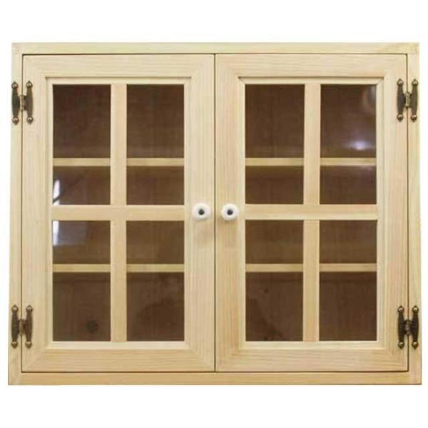 壁掛けキャビネット透明ガラス扉ライトオークw60d30h50cmキッチン吊り戸棚木製ひのき受注製作