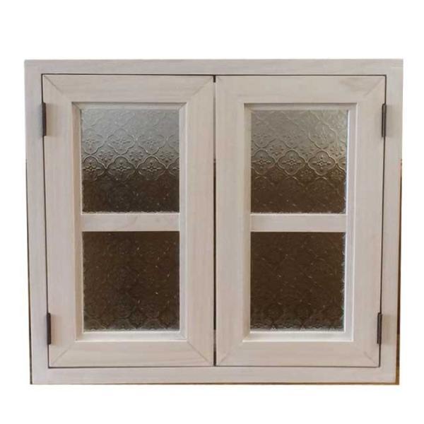 カフェ窓 室内窓 採光窓 フローラガラス扉 木製 ひのき 両面仕様 45×15×40cm 扉の厚み3cm ホワイトステイン 受注製作|angelsdust