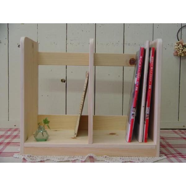 本棚 無塗装白木 w40d25h34cm ブックスタンド 木製 ひのき 受注製作|angelsdust|02