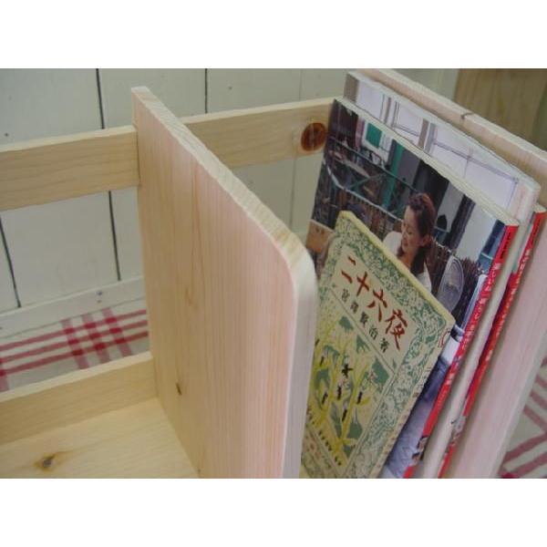 本棚 無塗装白木 w40d25h34cm ブックスタンド 木製 ひのき 受注製作|angelsdust|04