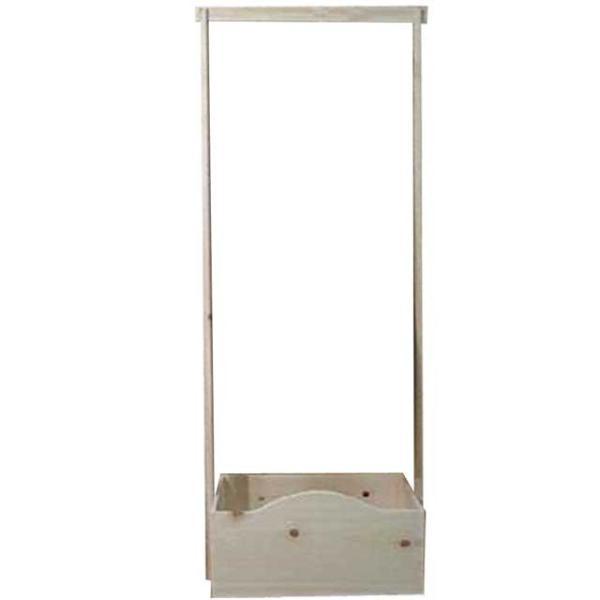 ハンガーラック ワイド 無塗装白木 w55d35h135cm ボックス付き 木製 ひのき 受注製作