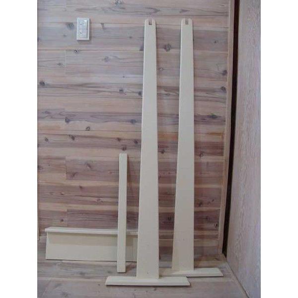 ハンガーラック ワイド アンティークホワイト w60d40h130cm 組み立て式 木製 国産ひのき 受注製作|angelsdust|02