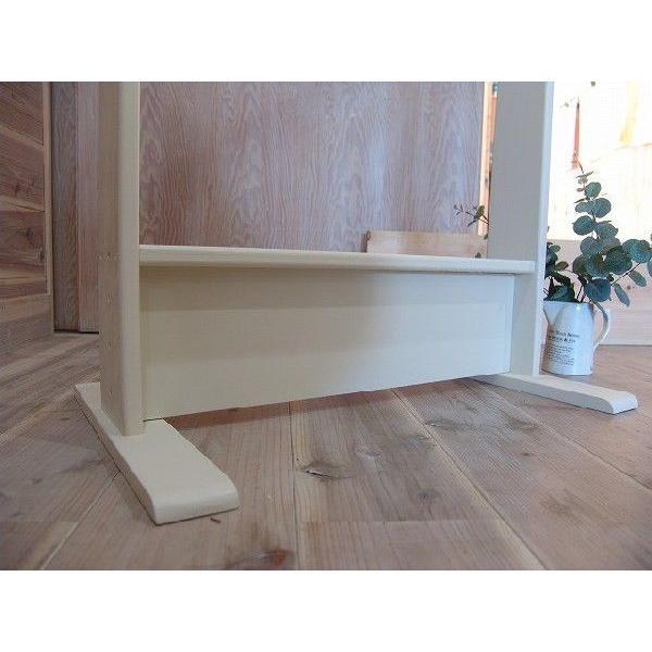 ハンガーラック ワイド アンティークホワイト w60d40h130cm 組み立て式 木製 国産ひのき 受注製作|angelsdust|03