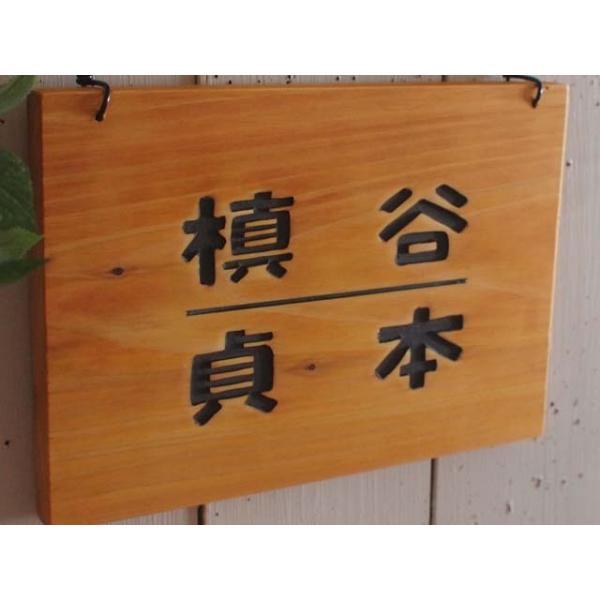 二世帯住宅用 ひのきの木製ネームプレート(仕切り線入り) 表札 漢字 送料無料|angelsdust|03