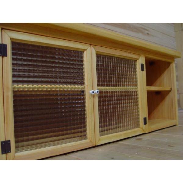 テレビ台 45型 開き扉 ナチュラル w100d43h40cm チェッカーガラス 木製 ひのき 受注製作|angelsdust|06