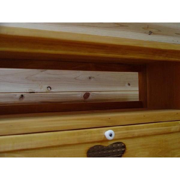 テレビ台 32型  下段木製扉つき ナチュラル w80d34.5h41cm チェッカーガラス扉 ハート 木製 ひのき 受注製作 angelsdust 04