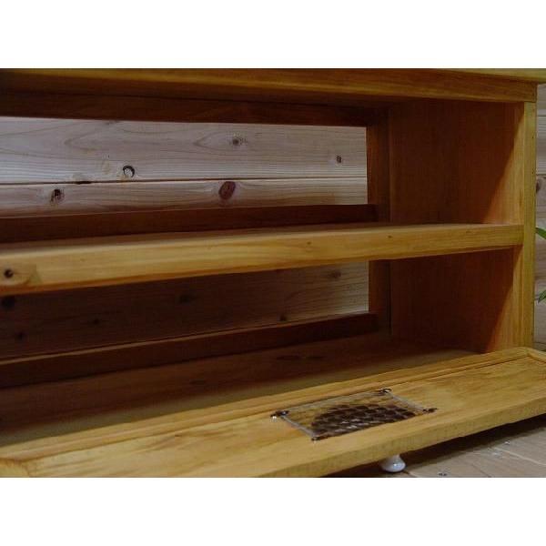 テレビ台 32型  下段木製扉つき ナチュラル w80d34.5h41cm チェッカーガラス扉 ハート 木製 ひのき 受注製作 angelsdust 05