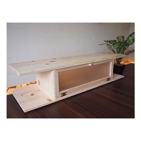 テレビ台 60型  チェッカーガラス扉 無塗装白木 w137d40h31.5cm 自然木天板 木製 ひのき 受注製作|angelsdust|02
