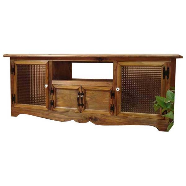 テレビ台 60型 下段木製扉 アンティークブラウン w140d38h52cm フランス製チェッカーガラス扉 木製 ひのき 受注製作|angelsdust