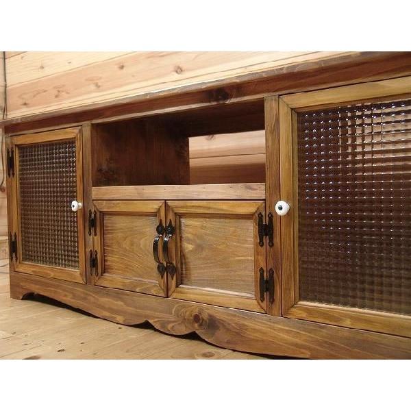 テレビ台 60型 下段木製扉 アンティークブラウン w140d38h52cm フランス製チェッカーガラス扉 木製 ひのき 受注製作|angelsdust|03