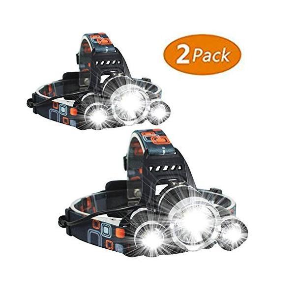 最新の10000ルーメン LEDヘッドライト USB充電式 3*CREE XM-L T6 18650型バッテリー 付属 防水 4点灯モード 作業灯