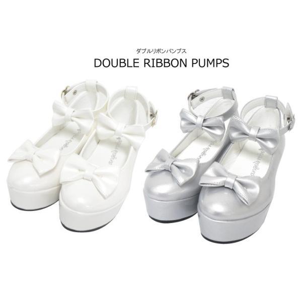 ダブルリボンパンプス 子供靴 全3色 18-23cm ネコポス不可 返品交換不可 [M便1/0]|angelsrobe