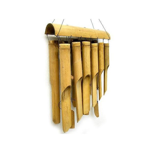 バンブーの風鈴12連 ナチュラル[竹ベル長さ40cm]アジアン雑貨 バリ雑貨 タイ エスニック アジアンインテリア|angkasa